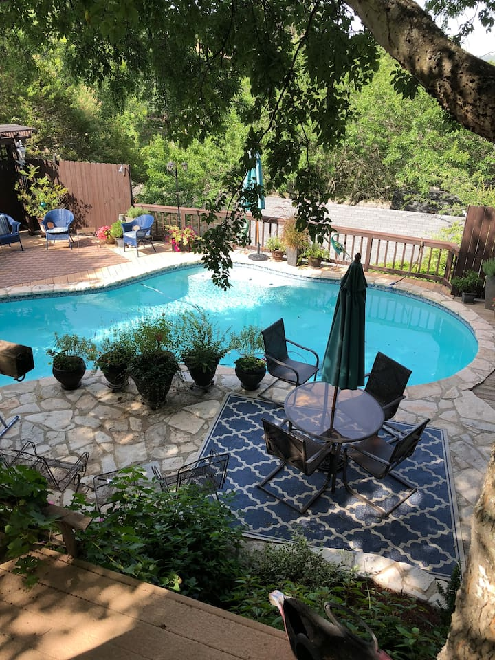 Private pool w/waterfall, on site - available for guests, come enjoy!