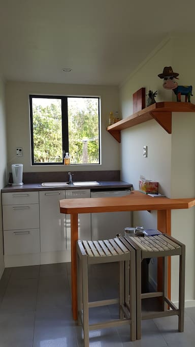New Kitchenette with basic cooking facilities, and fridge.