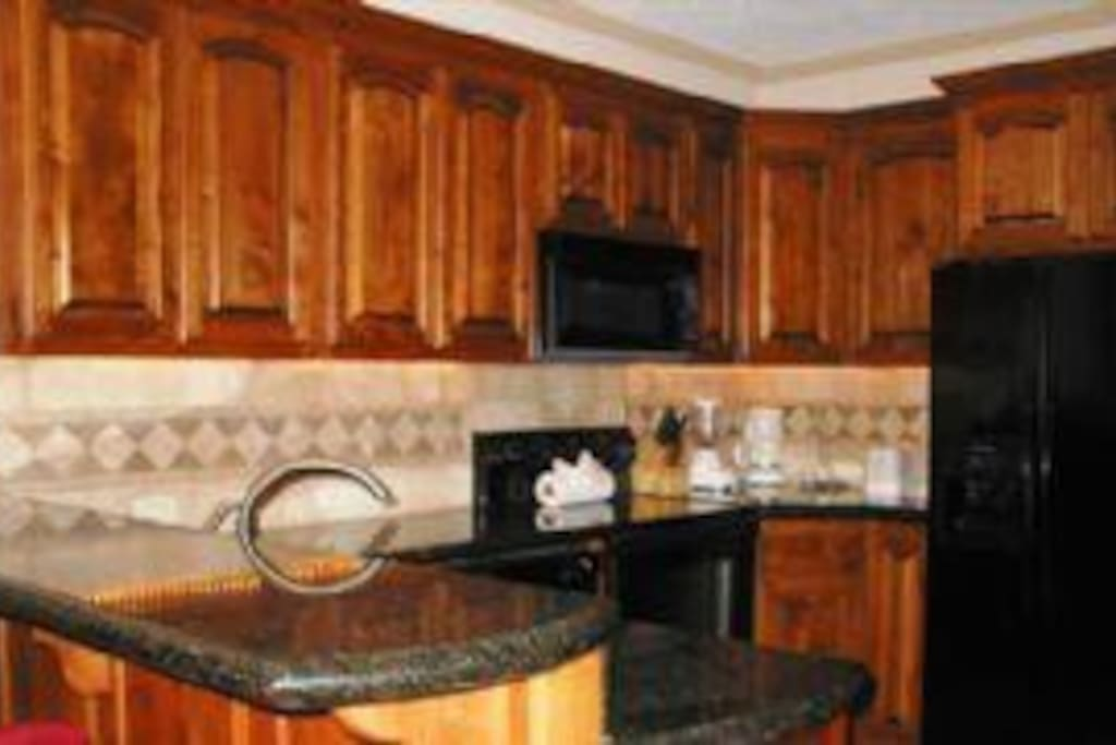 The Black granite counter top