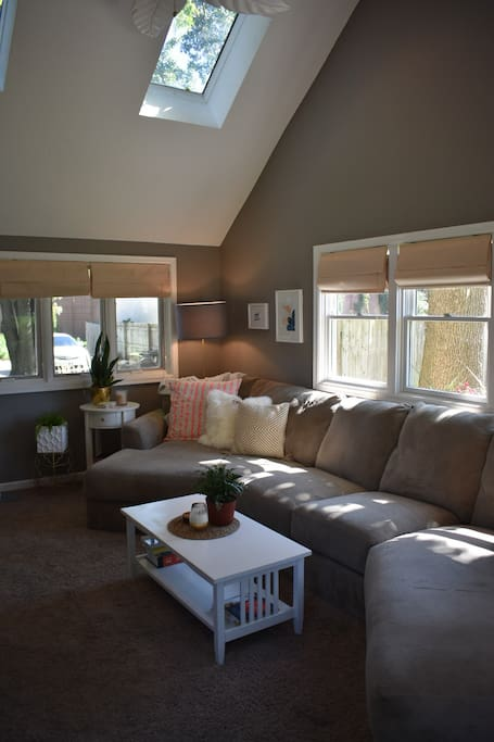 Comfortable and open living areas with a lot of natural light.