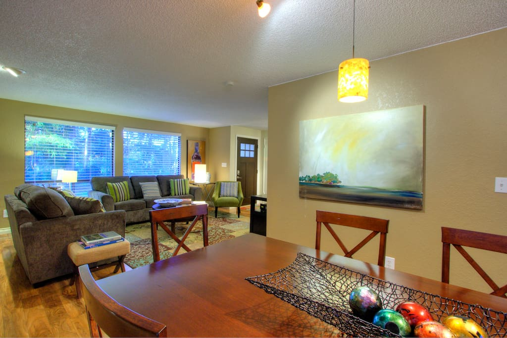 Dining room, living room area with scenic views.