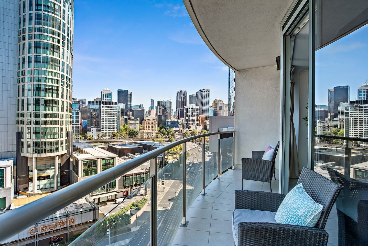 Enjoy a cool refreshing drink on the balcony after a busy day in Melbourne.