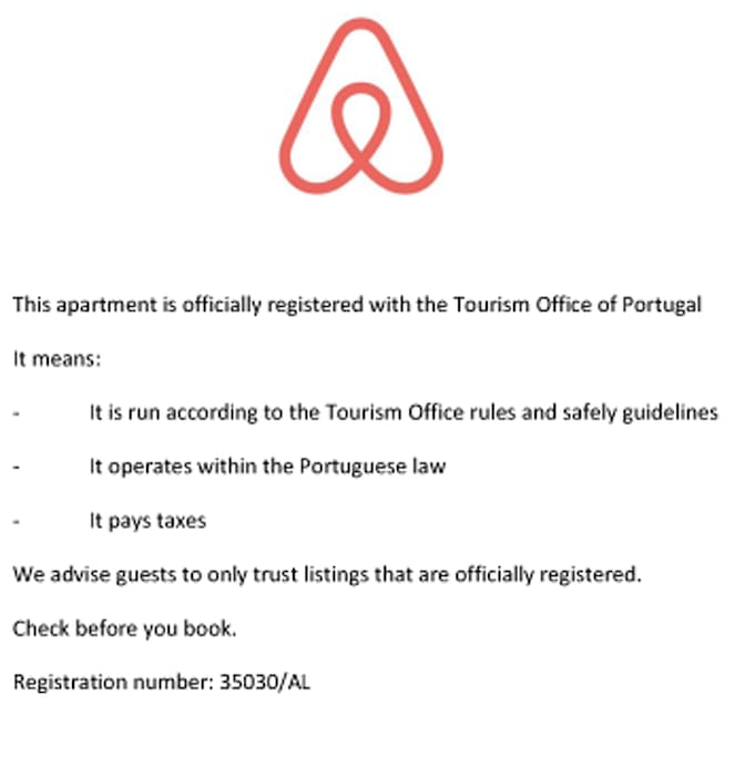 Apartment officially registered with the Tourism Office of Portugal