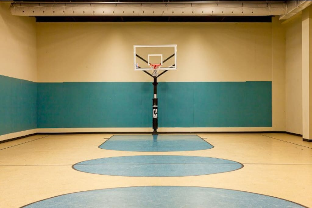 Come play indoor, full court basketball here! No need to bring your ball, your room has one ready to be used!
