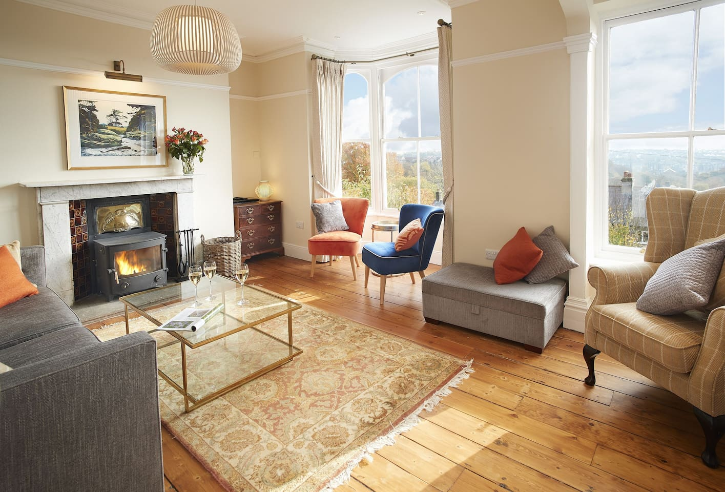 The sitting room boasts breathtaking views over Buxton and Derbyshire Peaks