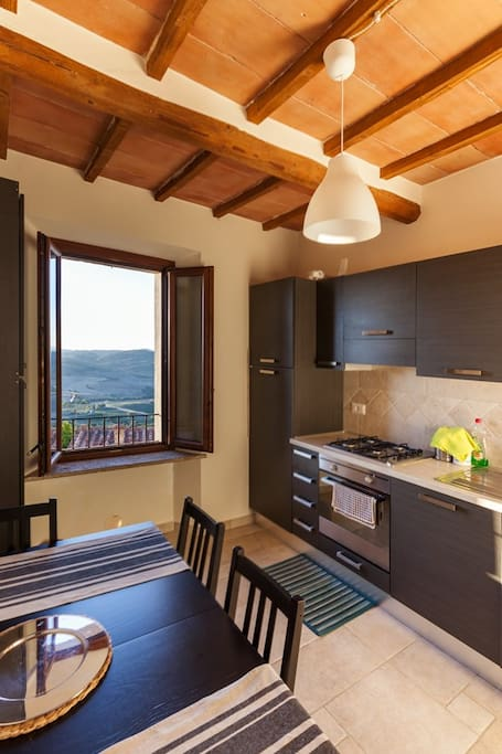 The kitchen and the view