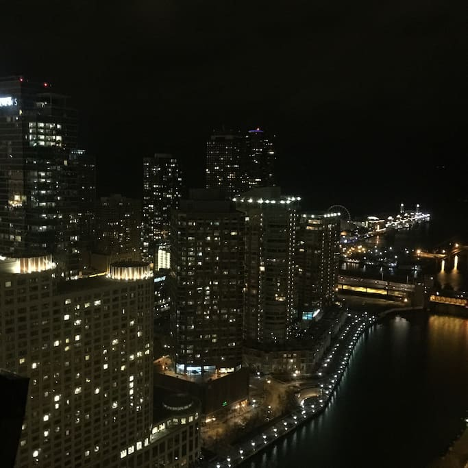 River view at night from living room- 40th floor