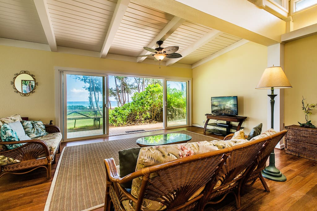 Living room looking out to beach.