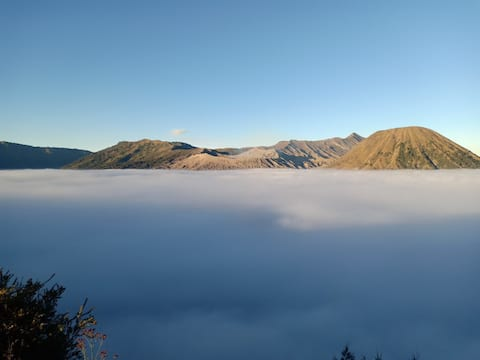 Twin room near edge with view of Mt.  Bromo