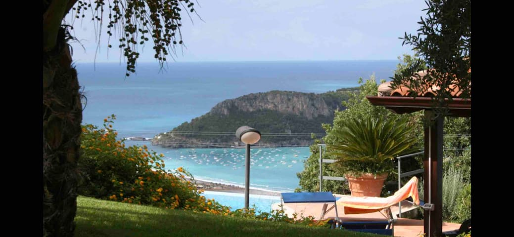 View of the island of Dino, once owned by Italian billionaire John Agnelli (owner of Fiat, Lancia, Alfa Romeo,, Maserati and Ferrari)