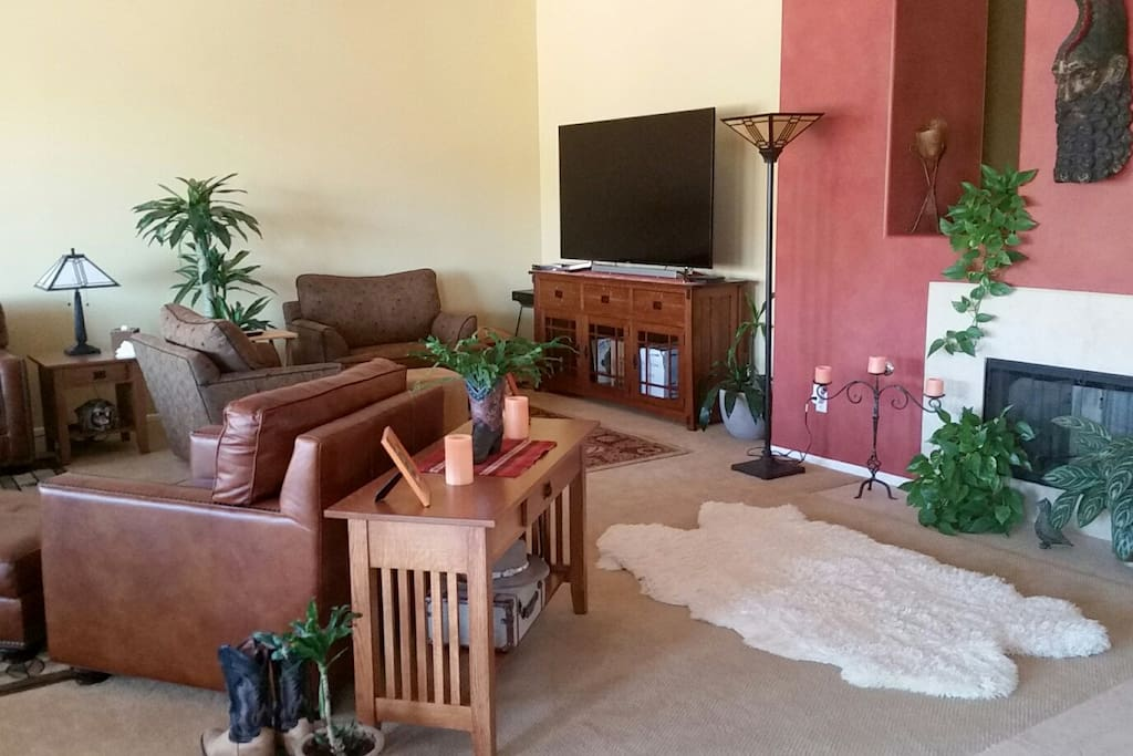 many comfortable sitting areas as well as multiple TV viewing areas