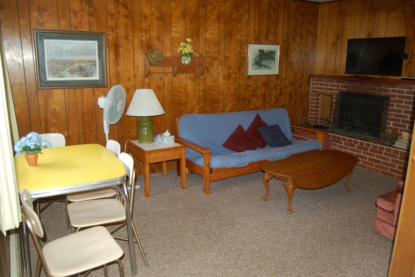 Seating area with full size futon.