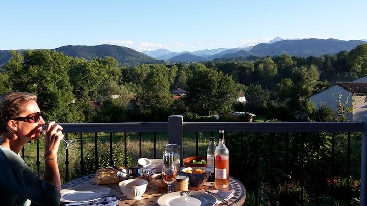 Splendide vue Pyrénées, Rez de jardin, 2 chambres
