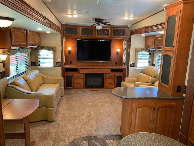 Luxury RV Trailer on the river