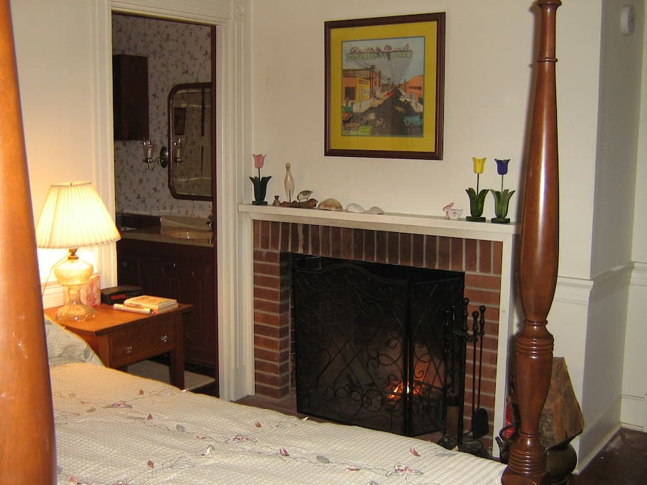 The Allison room is a waterfront room with a queen bed, private bath, fireplace, TV, fridge, & 2 easy chairs. This or the Elizabeth room will be available when we have availability. $160 per night includes state and local taxes.