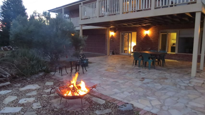 Outside patio with fire pit
