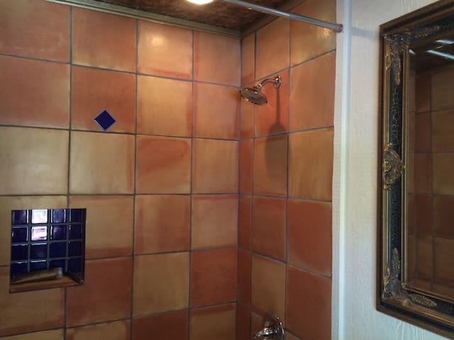 Beautiful tiled shower and tub in the master bedroom