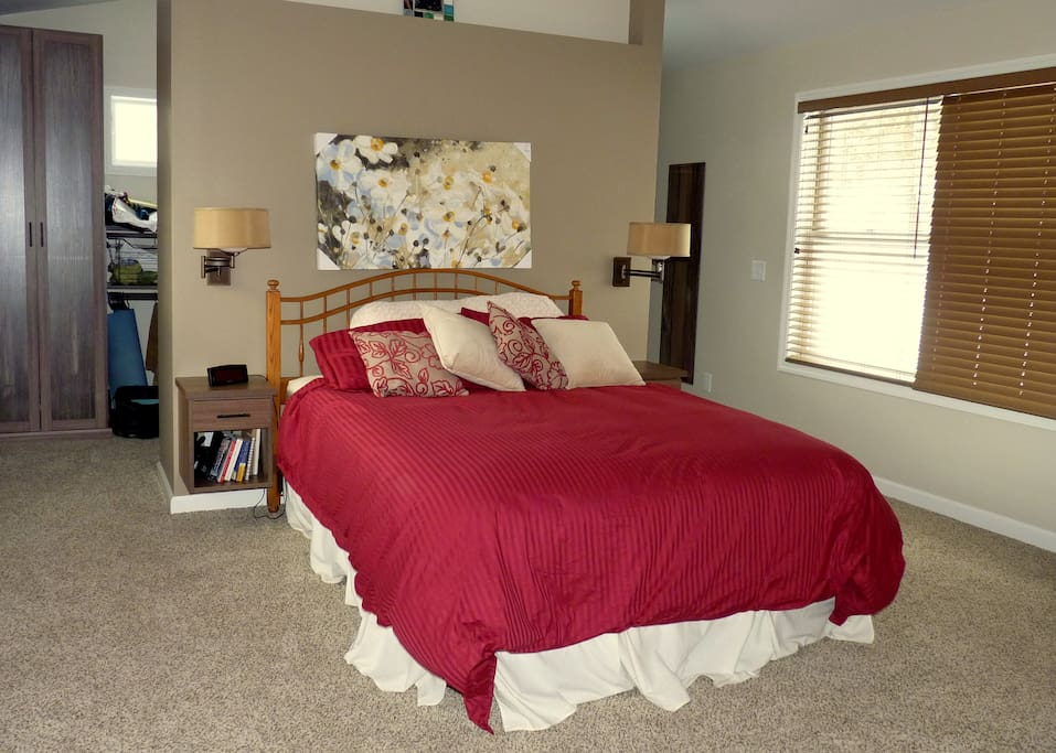 Spacious master bedroom - adequate  space for sleeping bags on floor, if needed