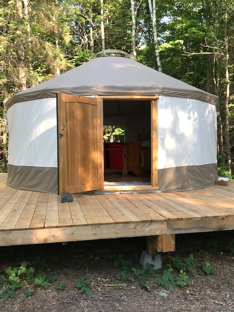 A yurt on the banks of the Mississagi River.