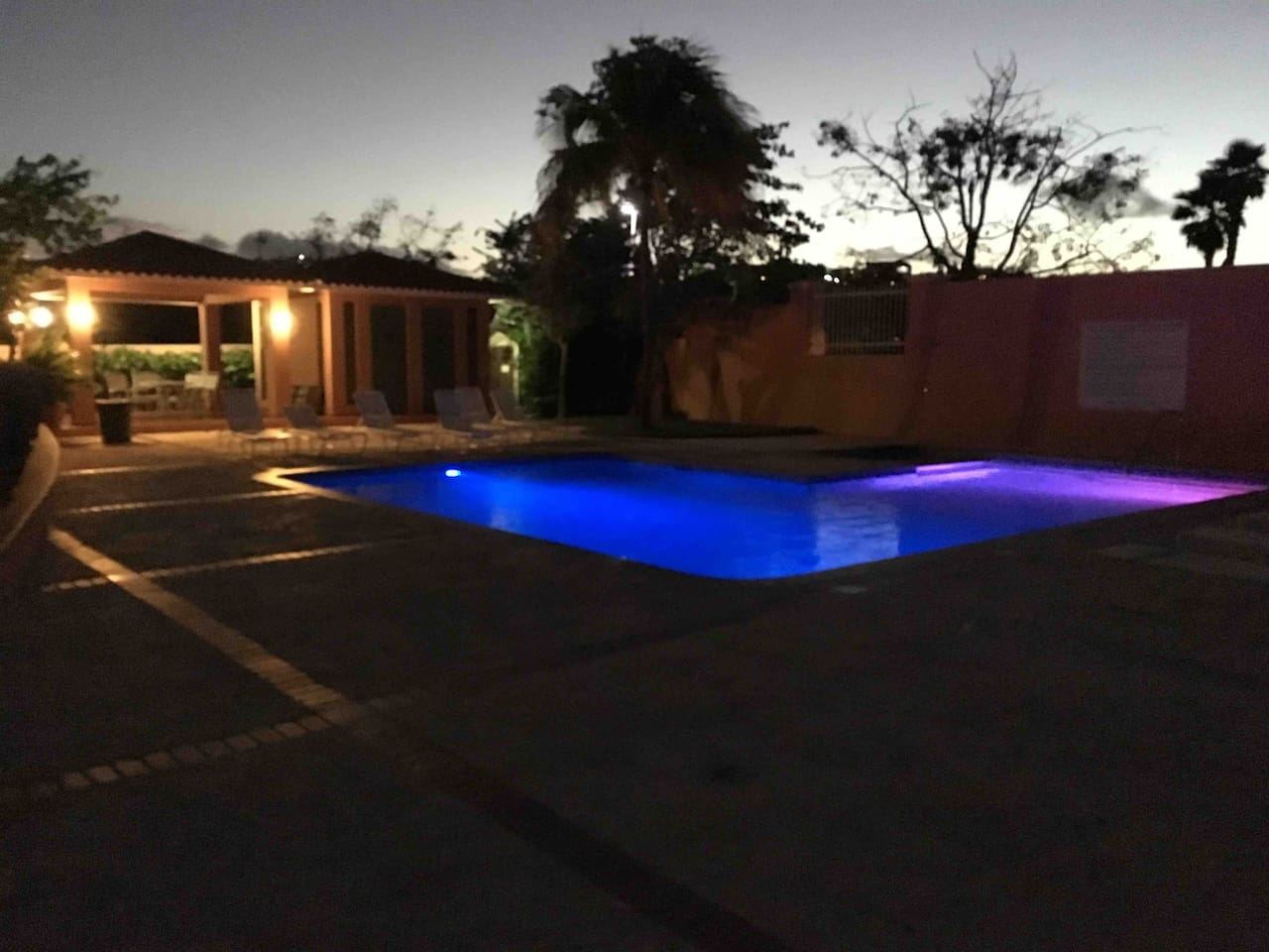 The pool at sundown with the magnificent color changing lights.