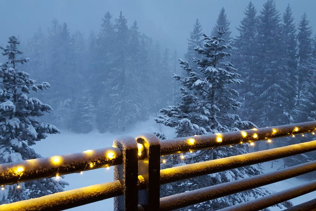 Snow falling over the woods: view from the balcony