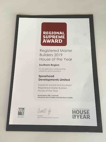 The Hawk house won the 2019 Supreme House of the Year award for the Southern region. Builder Nick Mizzi won the prestigious Craftsmanship award, as well as a Gold award and a category award. Wish Rangi Kahu luck at the national awards on 23 November!