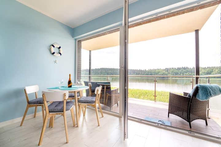 Apartament z widokiem na jezioro + prywatna plaża
