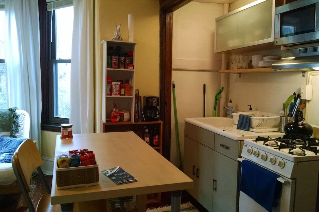 Cook for yourself in the fully equipped kitchen if you like.  Coffee and tea are available.