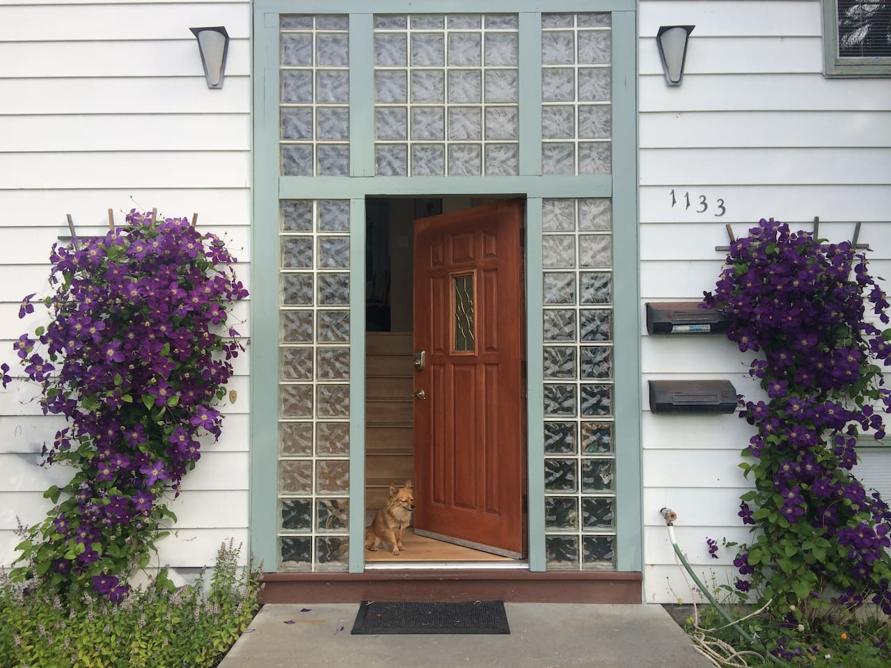 Our front door but you have your own private entrance too!
