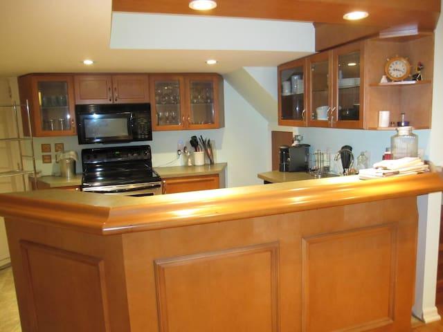 Kitchen: stove, oven, microwave, coffee maker, small fridge