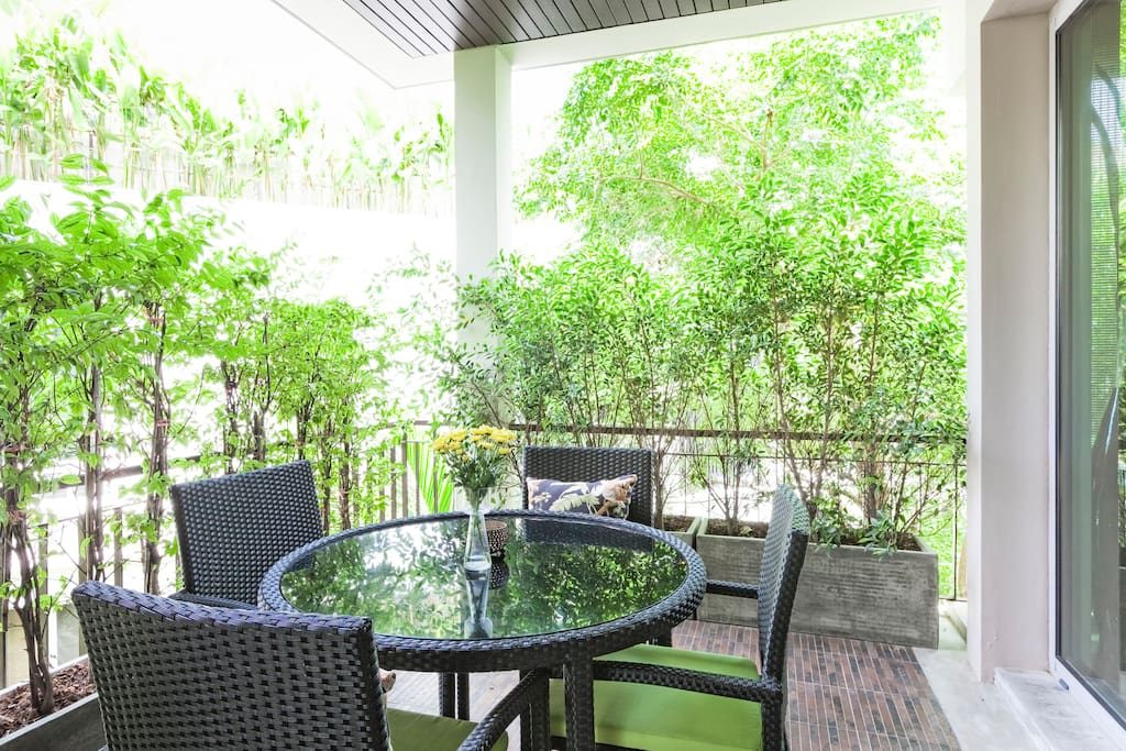Beautiful spacious covered terrace with lush jungle views