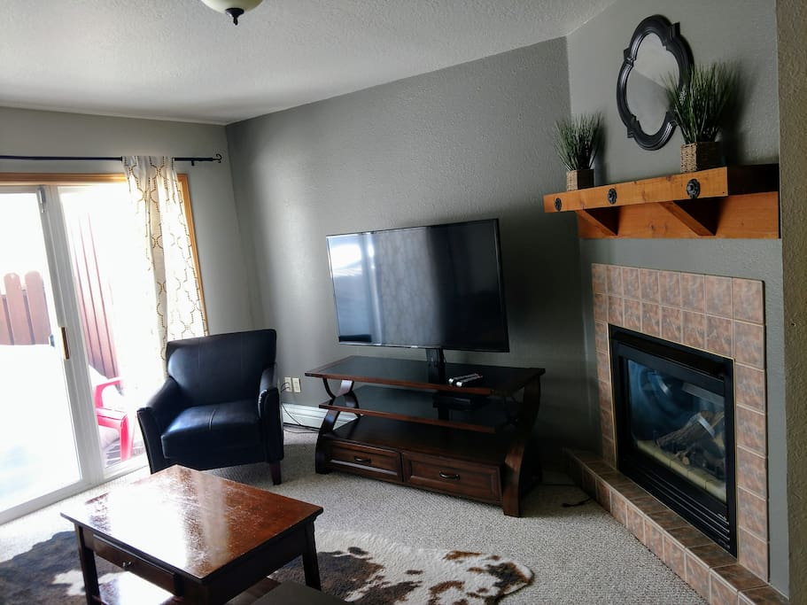 Living room, smart TV, Fireplace