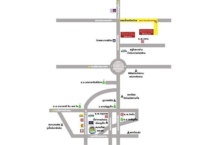 Pruksa Ville Talang Red sign close to yellow road (Map). It is 3 mins to Talang Hospital