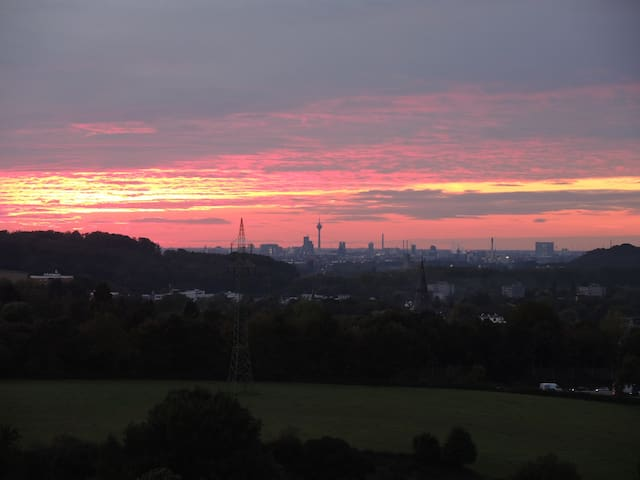 Beautiful view from 100sqm apartment to Dusseldorf