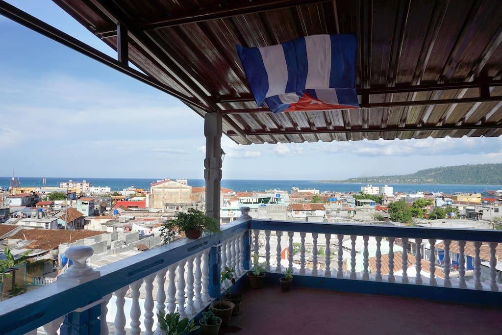 Our terrace with great view on Baracoa an the ocean