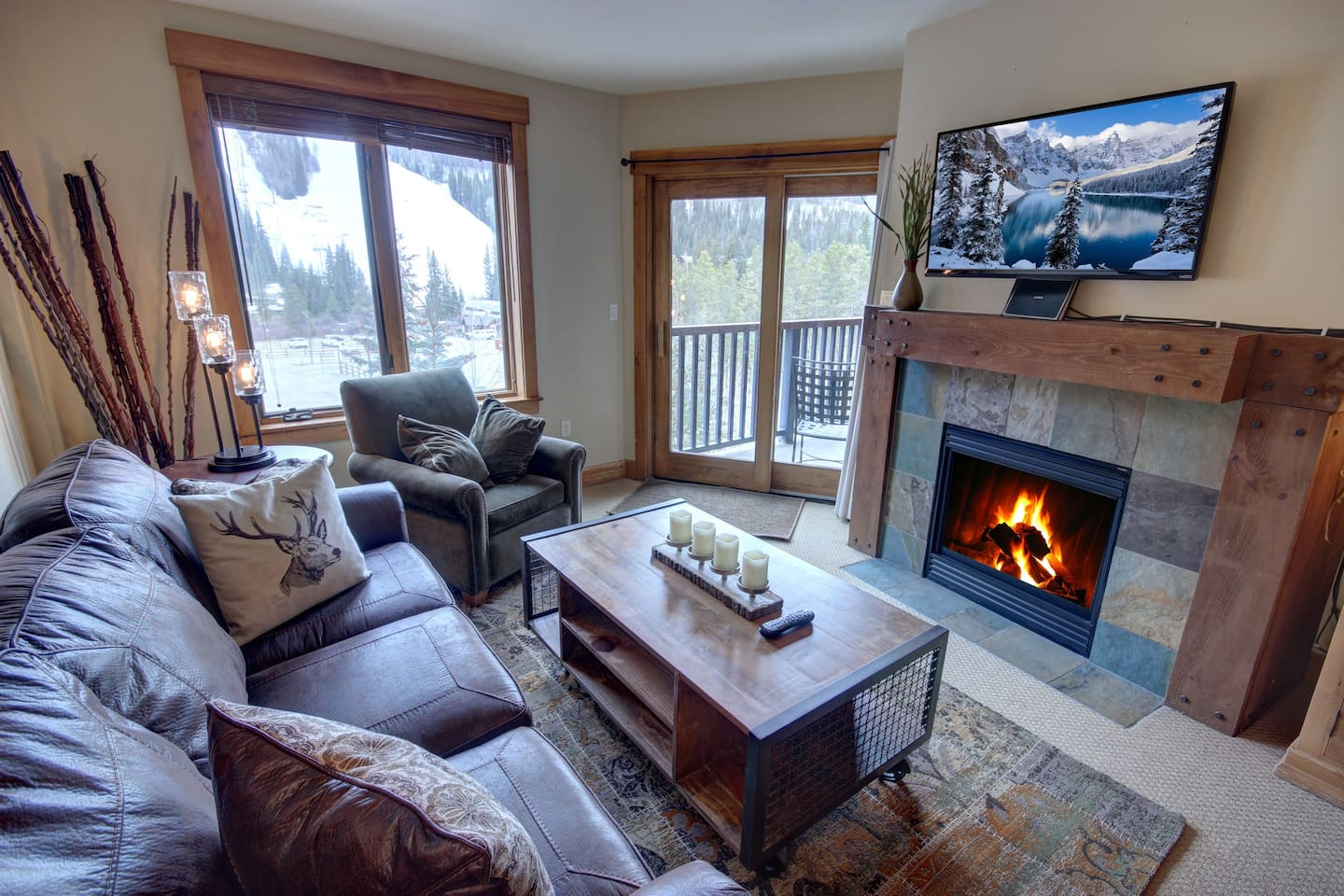 Big living room with TV and fireplace or cold days