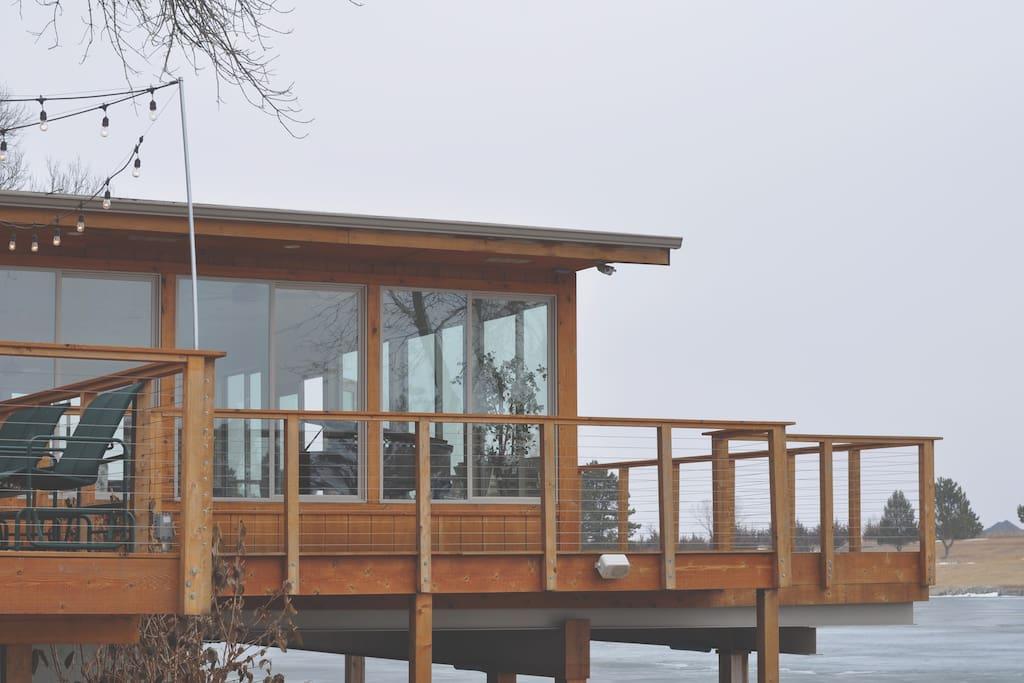 a tree-high boathouse in Nebraska