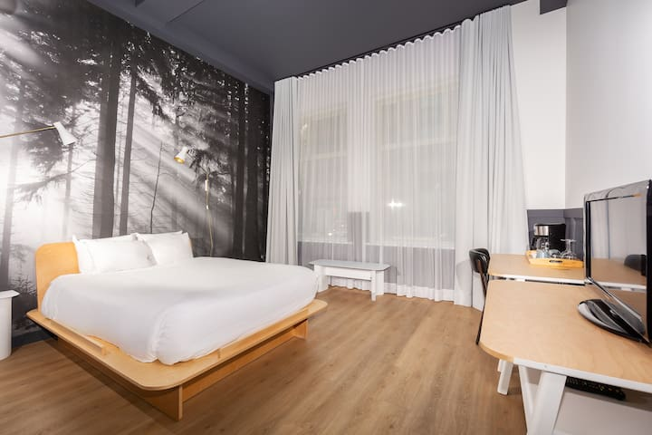 Newly renovated queen-bed room in vibrant St-Roch