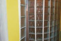 Large Glass Block Shower