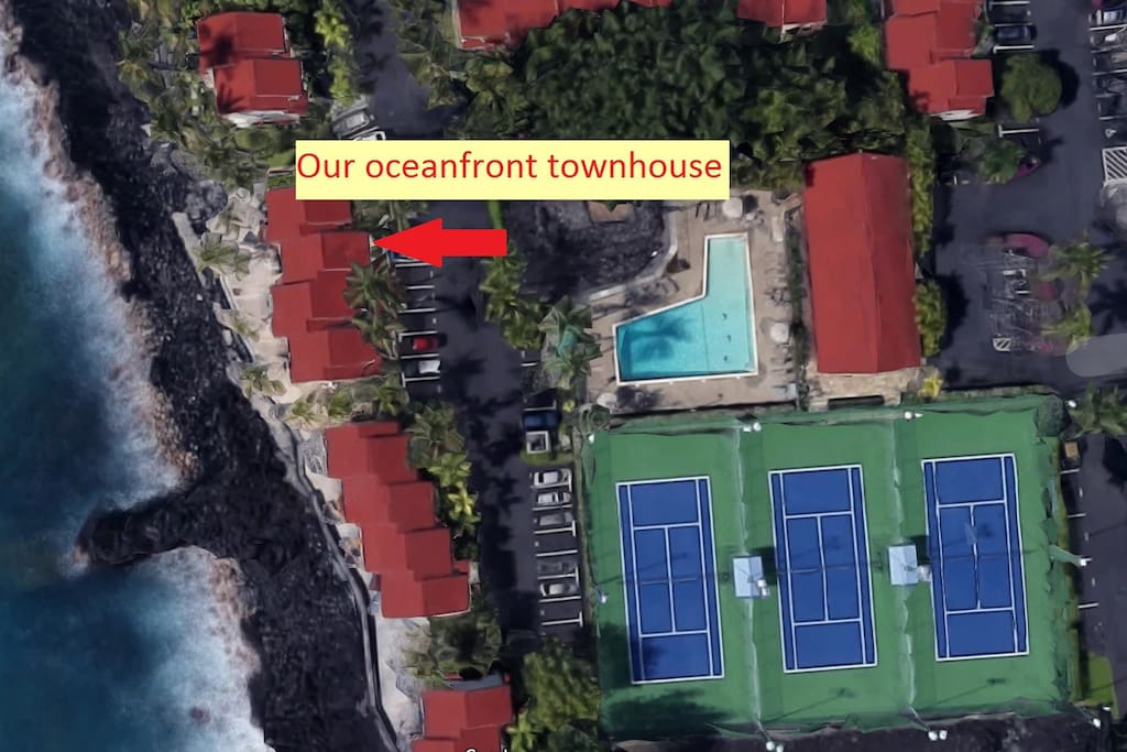 Aerial view of the townhouse showing the proximity to the ocean, pool and tennis courts. Any closer to the water and you'd be swimming!