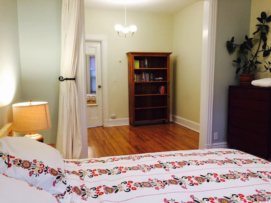 Adjoining bedroom, dressing room accommodates full size futon mattress.