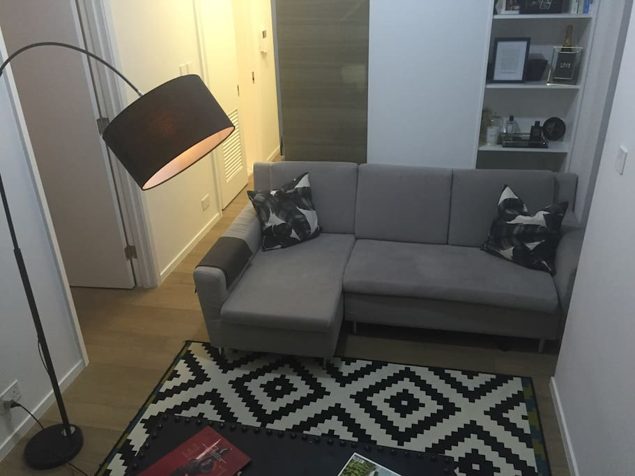 Living area with sofa bed for extra guest