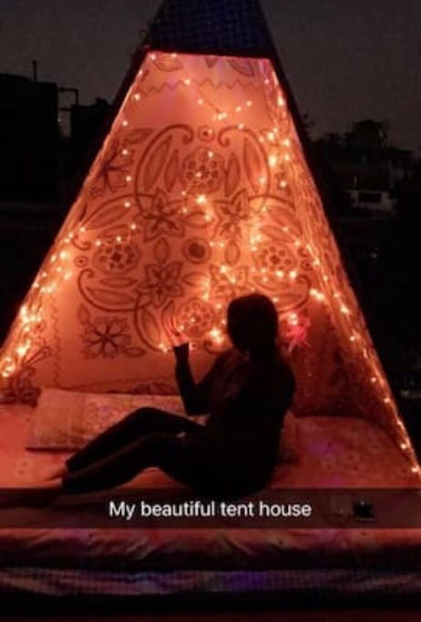 Tent house on terrace