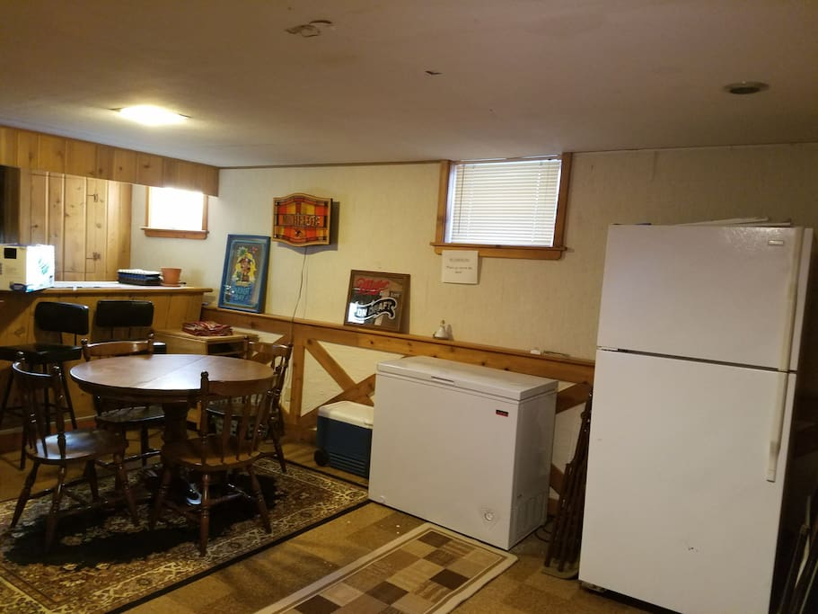 Private refrigerator w/ full shared kitchen on upper level.  Private dining on lower level.