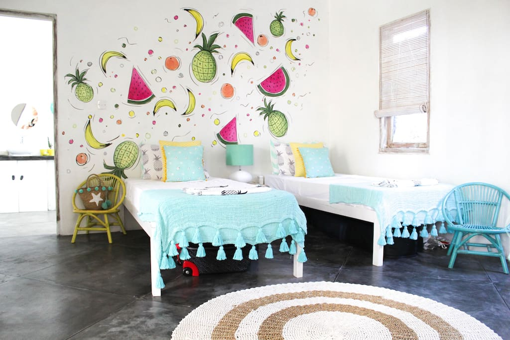 Our third bedroom is a dedicated kids room with lots of colour to make them feel at home.