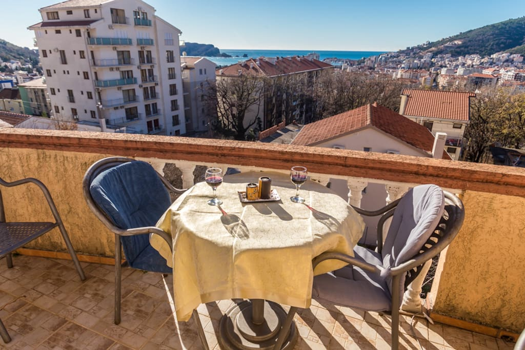 The balcony offers a wide view of Budva as well as the sea.