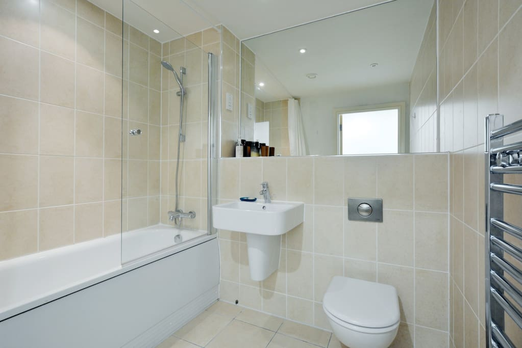 Your private bathroom with shower and bath