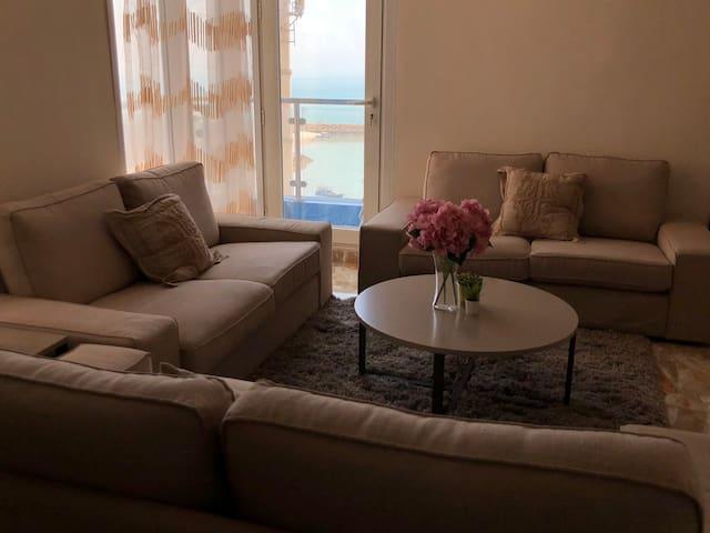 Living room with views of the Arabian Gulf