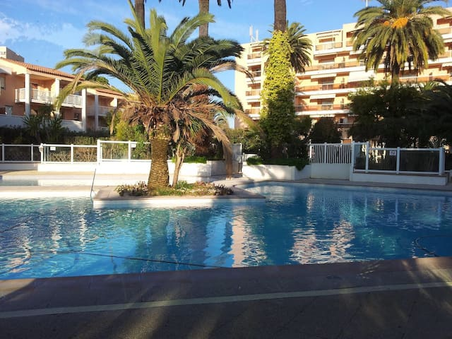 """This is the """"Residence Du Golf"""" pool that you will have access from 10 am to 8pm. All the bracelets and badge will be given to you so that you will be able to enter it."""