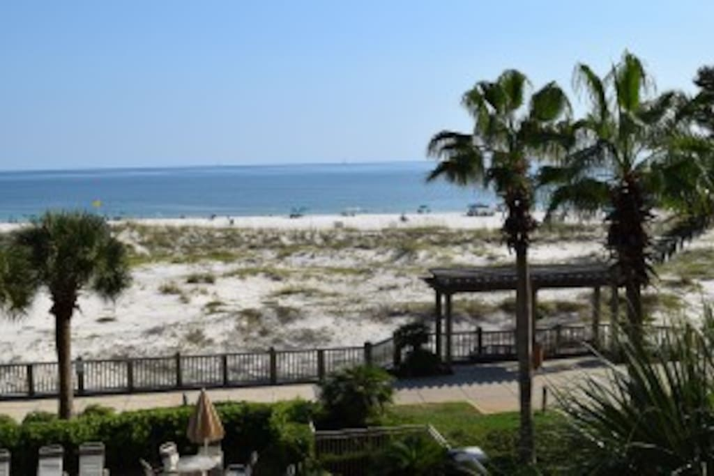 Beautiful & Unobstructed View of the Catalina Pool and the Gulf from the Balcony